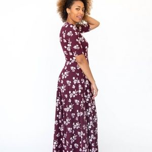 🍷 Maxi Dress Baby Suede Floral White & Wine